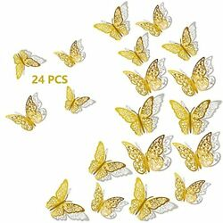 3D Butterfly Wall Decor 24Pcs 3 Sizes 2 Styles Removable Wall Srickers Butterf