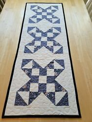 Handmade Quilted Table Runner Star Design In Gray Blue On Cream Background