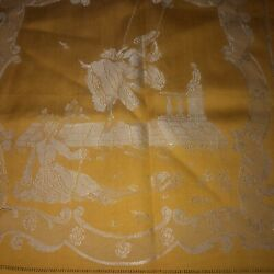 Vintage Set Of Ornate Gold And Cream Damask Satin Silky Tablecloth And 6 Napkins