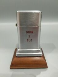 Vintage Zippo Barcroft Table Lighter Double Sided John And Sue Have A Light