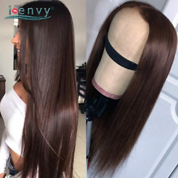 Transparent Dark Brown Human Hair Wig Peruvian Colored Straight Lace Front Wigs