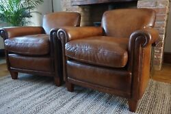 Laura Ashley Pair Of Burlington Leather Armchairs Stunning Distressed Leather