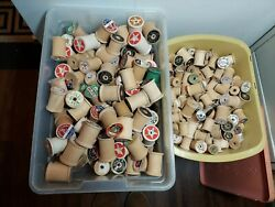 300 Vintage Antique Wooden Thread Spools Various Sizes And Brands