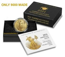 American Eagle 2021 One Ounce Gold Uncirculated Coin W/box And Coa