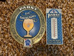 Pabst Blue Ribbon Thermometer And On Draught Sign 2 Signs Total