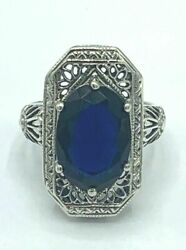 Engagement Engraved Vintage Art Deco Ring 3.13 Ct Sapphire 14k White Gold Over