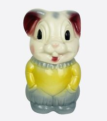 Rare Vintage 1950s American Bisque Rabbit Mouse Cookie Jar Usa Collectible Htf
