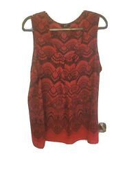 Red And Black Lace Blouse Plus Size 2x No Sleeve