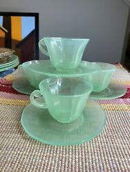 4 Sets Art Deco Jadeite Opaline Jade Green Clambroth Cups And Saucers
