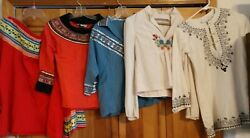 5 Vintage Mexican Fiesta And Embroidered Shirts