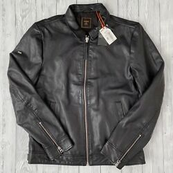 Superdry Menand039s Indie Coach Real Leather Jacket Rrp-andpound199.99 - Size Small