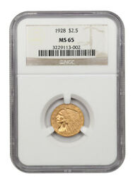 1928 2 1/2 Ngc Ms65 - Gem Type Coin - 2.50 Indian Gold Coin - Gem Type Coin