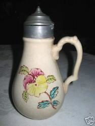 Antique Art Pottery Stoneware Country Farm Kitchen Syrup Pitcher Bottle Pewter
