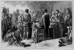 Indians Thanksgiving-day Among The Puritan Fathers In New England