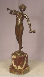 Antique Nude Bronze Lady With Cup And Horn Signed Keck