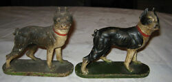 ANTIQUE HUBLEY USA TOY DOG STATUE BOOKENDS CAST IRON BOSTON TERRIER BOOK ENDS