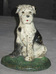 ANTIQUE HUBLEY PUPPY TERRIER DOG HOME ART STATUE DOORSTOP CAST IRON SCULPTURE