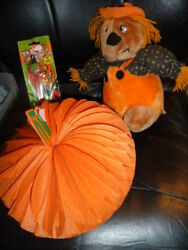 Vintage Halloween Plush Doll A Beistle Pumpkin Decoration And Witch Pez Fun Lot