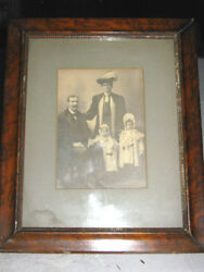 Antique Family Home Photo Wood Frame Man Lady Fur Hat Dress Baby Country Art