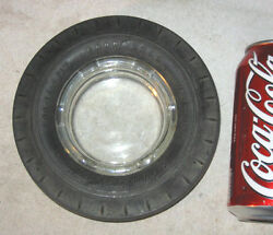Antique Goodyear Rubber Car Tire Advertising Wing Glass Art Smoke Ashtray Bowl