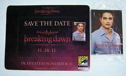 Twilight 2011 Sdcc Breaking Dawn Magnet,card Pack And Pin