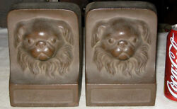 Antique Chinese Pekingese Bronze Cast Iron Toy Dog Art Statue Sculpture Bookends