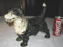 ANTIQUE LITTCO CO. 2 TONE CAST IRON SCOTTISH TERRIER DOG ART DOORSTOP HUBLEY