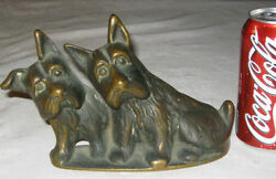 ANTIQUE BRONZE SCOTTISH TERRIER DOG HOME ART STATUE SCULPTURE WEIGHT DOORSTOP