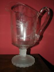 Antique Eapg Three Face Etched And Initialed Water Pitcher Pattern Glass