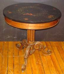 Antique Victorian Etched And Mosaic Marble Top Table W/ Wood Tripod Base Inv 219