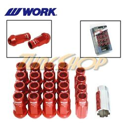 Work Racing Rs-r Extended Forged Aluminum Lock Lug Nuts 12x1.5 1.5 Red Open M