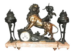 3pc Spelter And Marble Clock Set W/cupid Riding Lion 16004