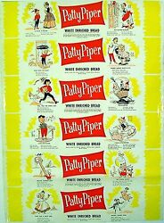 Vintage Bread Wrapper Patty Piper 2 Dated 1958 Mother Hubbard New Old Stock