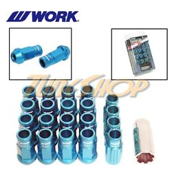 Work Racing Rs-r Extended Forged Aluminum Lock Lug Nuts 12x1.5 1.5 Blue Open T