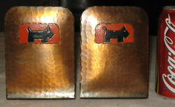 ANTIQUE ARTS CRAFTS CRAFTSMAN STUDIOS COPPER SCOTTISH TERRIER DOG USA BOOKENDS