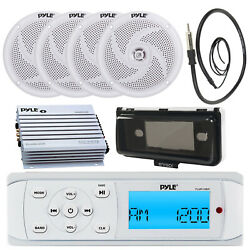 Pyle Plmr14bw In Dash Usb Receiver, Cover, 4x 4 Speakers, 400w Amp, Antenna