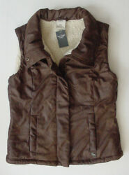 Womenand039s/youth Girls Vest Jacket Brown Winter Abercrombie Fitch Fur Xs 120 Nwt