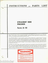 Niagara 1961 Straight Side Press Form A-13 Instructions And Parts List