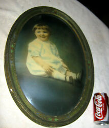 Antique Art Deco Convex Glass Wood Picture Baby Girl Photo Frame Painting Home