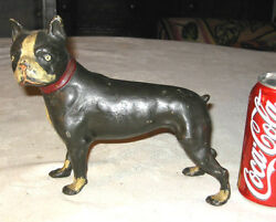 ANTIQUE SKOOG CAST IRON BOSTON TERRIER WAR DOG STATUE SCULPTURE DOOR DOORSTOP