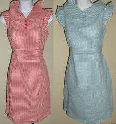 NWT Genuine TULLE bluered checked cap sleeve fitted mini summer dressSMLXL