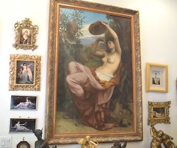 French Mythological Nude Oil On Canvas Signed Camille Bellanger And Dated 1877