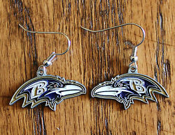 Baltimore Ravens Dangle Earrings Licensed Nfl Football Game Jewelry Sports