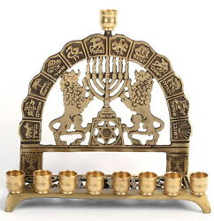 Old Mint Hanukkah Menorah 12 Tribes Of Israel Judah Lion Star David Israel Bible