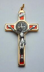St. Benedict Crucifix 24kt Gold Plate - Red 2 1/4