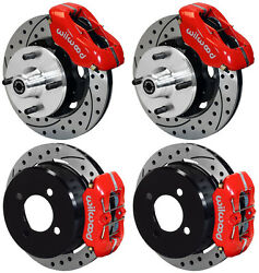 WILWOOD DISC BRAKE KIT,63-66 FORD,MERCURY,6 CYL,4-LUG,DRILLED ROTORS,RED CALIPER