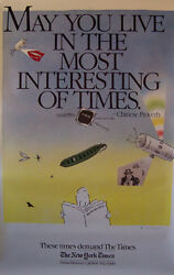 New York Times 1980's R. O. Blechman Advertising Poster May You Live In The....