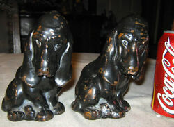 ANTIQUE GALVANO BRONZE CLAD BASSET HOUND DOG ART STATUE SCULPTURE BOOK BOOKENDS