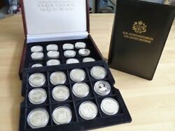 Official 24 Silver Proof Coin Set - Queen Mother Crowns 1996
