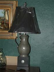 Pr Antique English Pewter Flagon Lamps With Shades